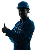 man construction worker Thumb Up silhouette portrait