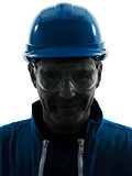man construction protective workwear silhouette portrait