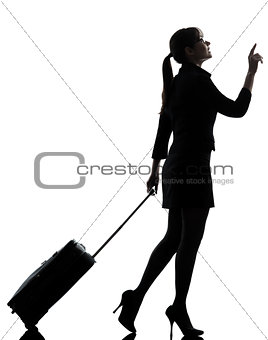 business woman  traveling walking   silhouette