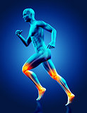 3D blue medical figure running with joints highlighted