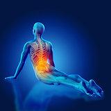 3D blue medical figure in yoga pose
