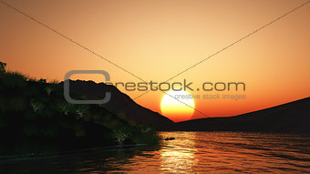 3D sunset landscape with hills and lake