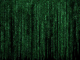 Futuristic code background with green letters
