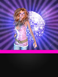 Disco poster with dancing girl