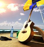 Guitar on the beach