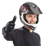 Happy motor biker man gesturing thumbs up