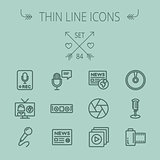 Mutimedia thin line icon set