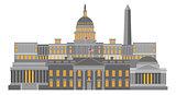 Washington DC Monuments and Landmarks Illustration