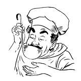 chef tastes food line art