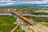 Bridge construction site. Tyumen. Russia