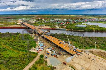 Bridge construction site. Tyumen. Russia