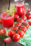 Fresh tomatoes and tomato juice