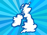 UK country shape in rays background
