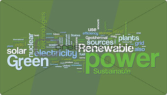 Green power word cloud illustration. Graphic tag collection