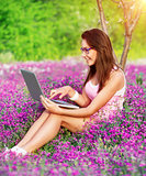 Student girl in the garden