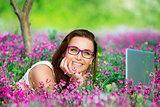 Beautiful student working on laptop