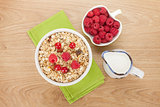 Healty breakfast with muesli, berries and milk