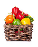 Fresh colorful bell peppers in box