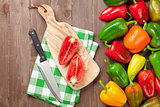 Fresh colorful bell pepper cooking