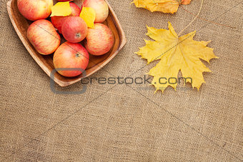 Autumn leaves and apples over burlap