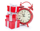 Christmas clock and three gift boxes