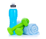 Two green dumbells, towel and water bottle