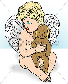 Angel Holding Stuffed Animal
