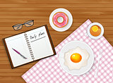 Tasty breakfast with tea and egg