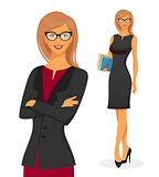 Businesswoman in red dress