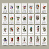 Set of cards, pickle jars with fruits and vegetables
