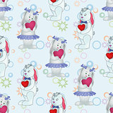 Seamless pattern, Bunnies with Valentine hearts