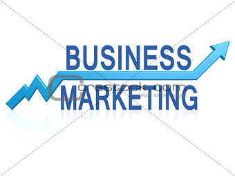 Business marketing with blue arrow