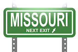Missouri green sign board isolated