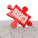 Research word with puzzle background