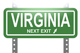 Virginia green sign board isolated