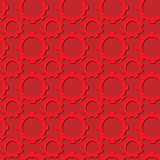 Seamless gear pattern red color with shadows