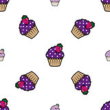 Cream cake purple seamless pattern