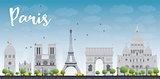 Paris skyline with grey landmarks and blue sky