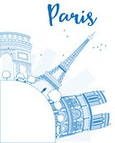Outline Paris skyline with blue landmarks and copy space.