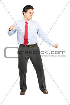 Angry Fighting Stance Hispanic Office Worker Full