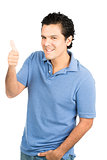Half Hispanic Male Right Thumbs Up Sign Big Smile