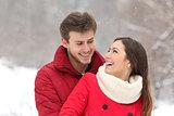 Couple falling in love in winter