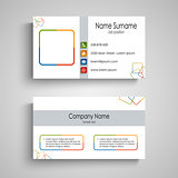 Business card with colorful square pattern template