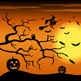 Halloween night orange background with witch and pumpkins