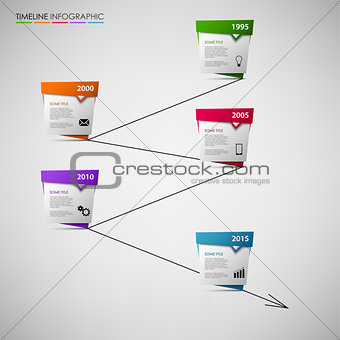 Time line info graphic with colored abstract pointers template