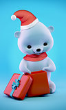 Teddy bear with Christmas gift box, clipping path