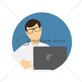 A Business Man wth Laptop Computer in Trendy Flat Style. Communi