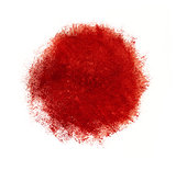 Colorful watercolor circle, red drop on white background.