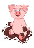Vector illustration of cute pig in dirt puddle