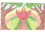 Romantic landscape with fantasy magic castle
